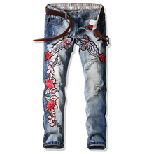 2017, новая тенденция моды вышивка, карп отверстие, самосовершенствование, мужские прямые джинсы (29-38) код пакет почты