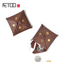 AETOO ретро из воловьей кожи креативная квадратная сумочка кнопка маленький кошелек для монет сумка для хранения наушников