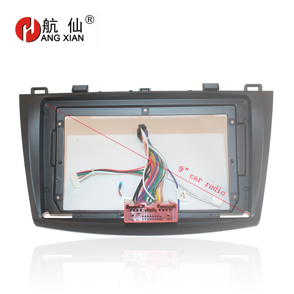 HANGXIAN <font><b>2Din</b></font> Car Radio Fascia frame for <font><b>Mazda</b></font> <font><b>3</b></font> 2011-2015 car DVD Panel Dash Kit Installation Frame of android car dvd player image