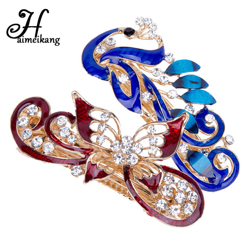 Haimeikang 1PC Peacock Butterfly Hairpin Women Hair Clip Rhinestone Barrette Hair Clips For Women Girls Hair Accessories