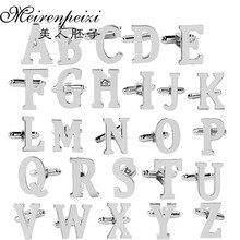 1 пара серебряных деловых A-Z одиночные буквы Мужские костюмы рубашка Запонки Свадебные Запонки для мужчин аксессуары гравированная запонка