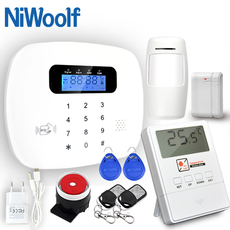 NiWoolf APP RFID GSM SMS Alarm System 433MHz Wireless Door Contact Motion Detector Smoke Fire Alarm Home Security GSM Alarm