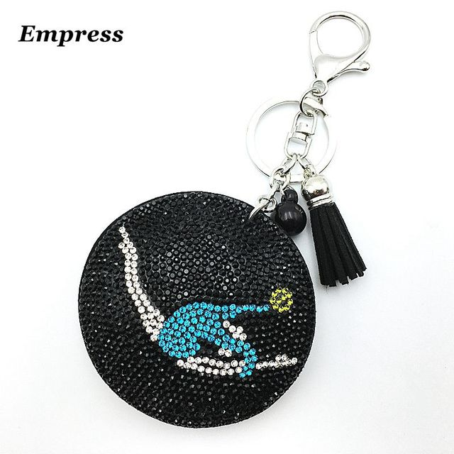 New 2018 good quality wholesale gymnastics round new fashion charm key chain pendant Rhine Shi Pi free shipping