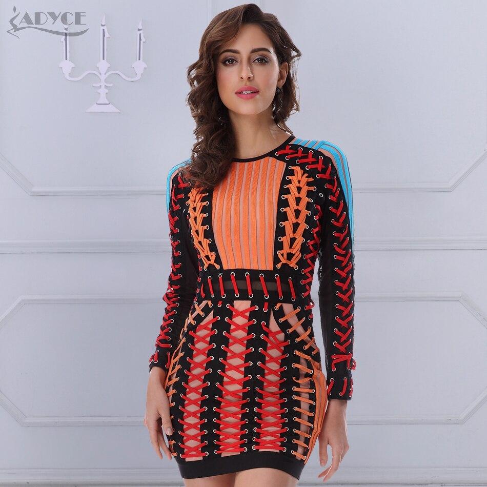 ADYCE 2019 été Bandage robe O cou noir bleu à manches longues Orange à lacets maille robe de piste femmes célébrité robes de soirée