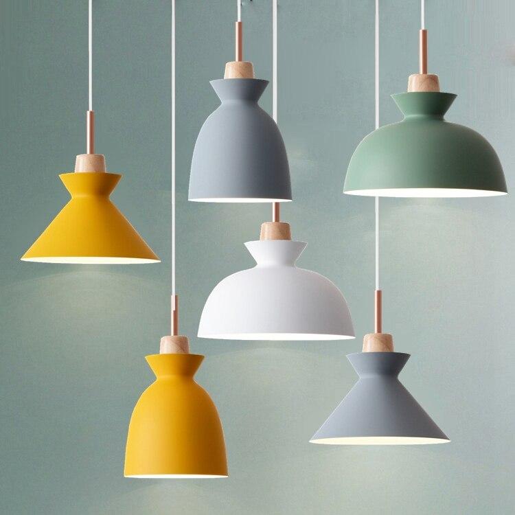 US $46.78 22% OFF|Moda kolorowe nowoczesne drewniane lampy wiszące Lamparas minimalistyczny design odcień oprawa jadalnia lampa wisząca lampa|design