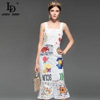 LD LINDA DELLA Runway Designer Summer Dress Women S Spaghetti Strap Hollow Out Backless Elegant White
