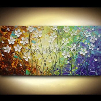 Hand painted modern home decor wall art picture white flower grass palette thick font b knife