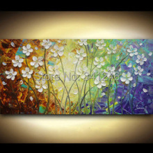 Hand-painted modern home decor wall art picture white flower-grass palette thick knife oil painting  on canvas for living room