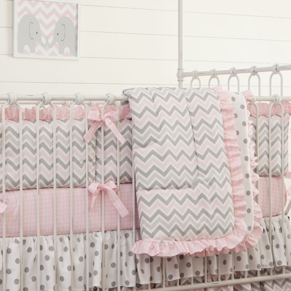 Grey Pink Chevron Dot Crib Bedding Baby Set Sweet Nursery Per Quilt Ed