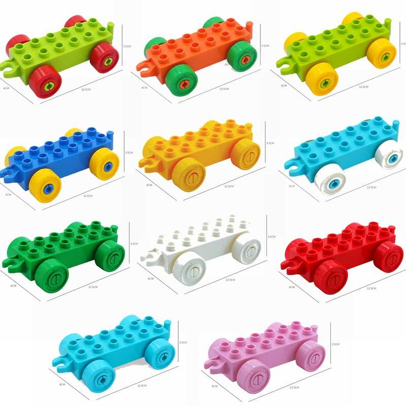 Legoing Duplo Train DIY Accessories Car Bottom Big Size MOC Building Kits Toy for Children Compatible Duplo Parts Baby Gifts