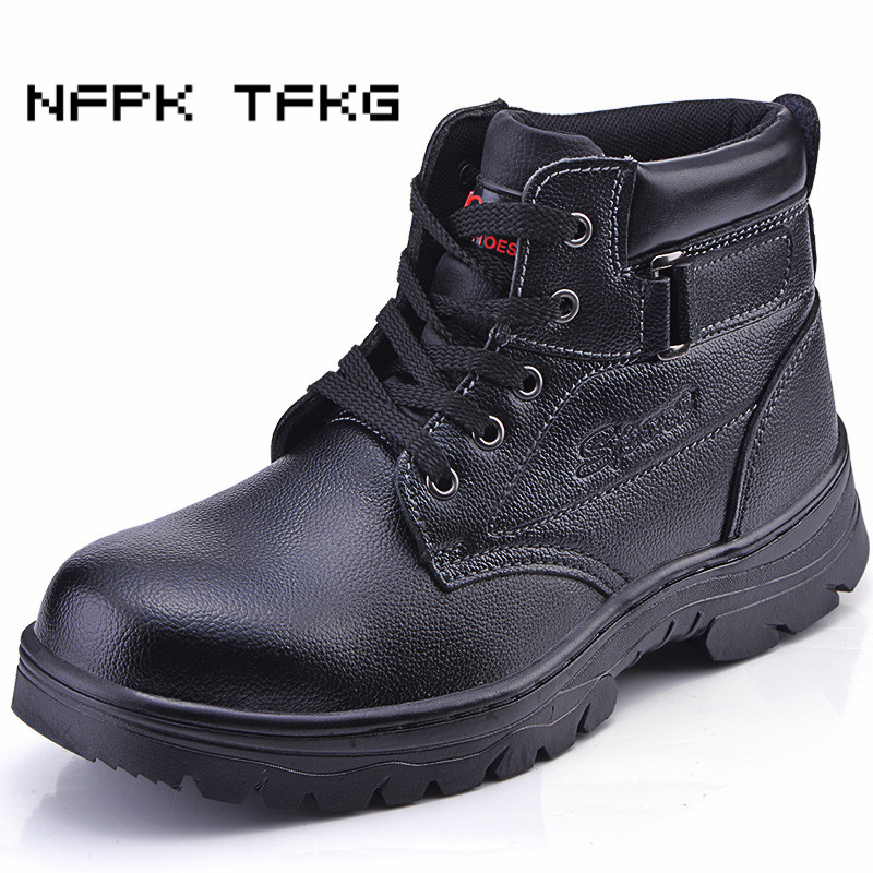 mens fashion plus size breathable steel toe covers working safety tooling shoes genuine leather puncture proof