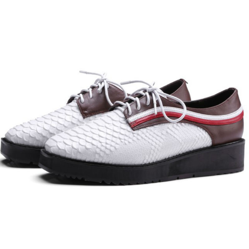 ФОТО Genuine leather snake pattern spring women flat heel single shoes ladies 2017 square toe white grey lace-up classic oxfords shoe