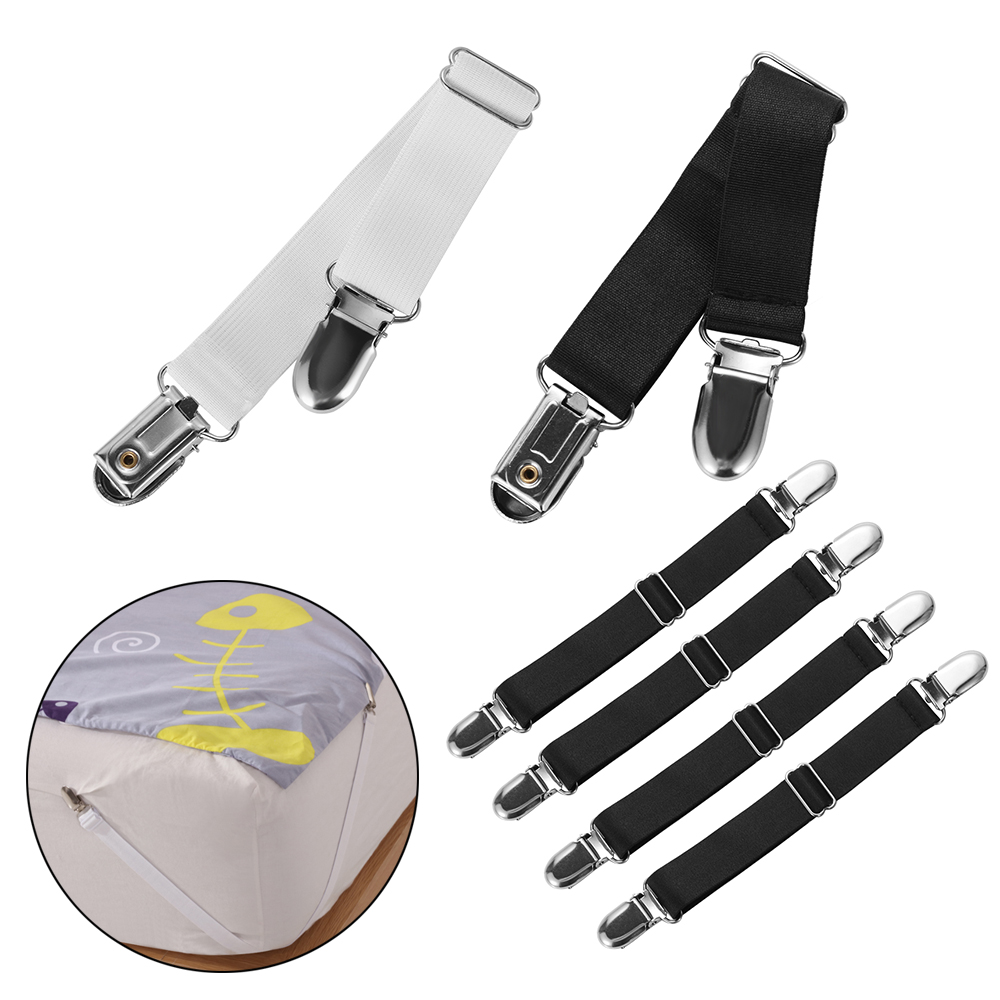 8pcs Bed Sheet Fasteners Clasps Grippers Holder Clip Metal Elastic Multipurpose