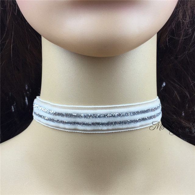260b82c3a1461 US $2.99 |Vintage White With Silver Glitter Ribbon Choker Necklace 16mm  Width Charms Necklace With Silver Clasp Closure Summer Jewelry-in Choker ...