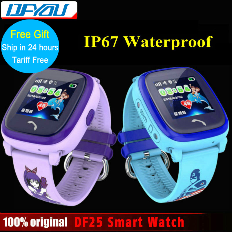 Waterproof DF25 Kids Smart Watch PK Q60 GPS Smart Baby Smartwatch SOS Call Location Device Tracker Kids Safe Anti-Lost Monitor smart baby watch каркам q60 голубые