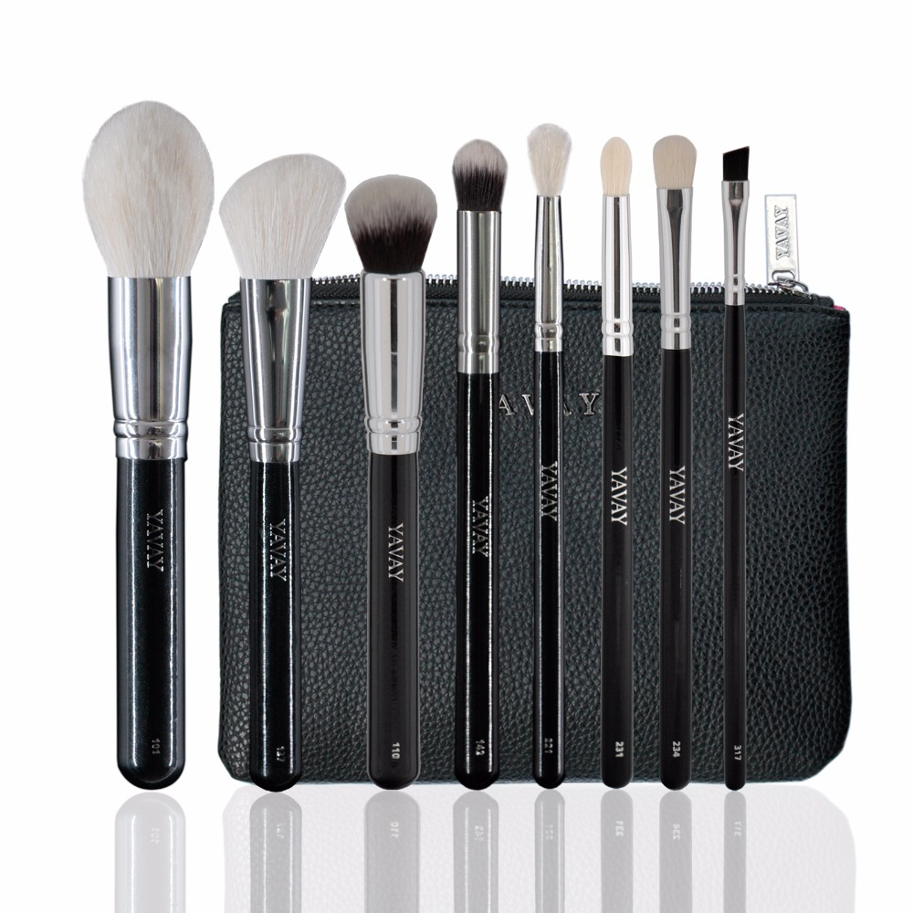 2017 YAVAY 8 PCS Professional LUXE PRIME SET Maquillage For Eyes Facial Foundation Eyeshadow Blush Brush Set with PU case