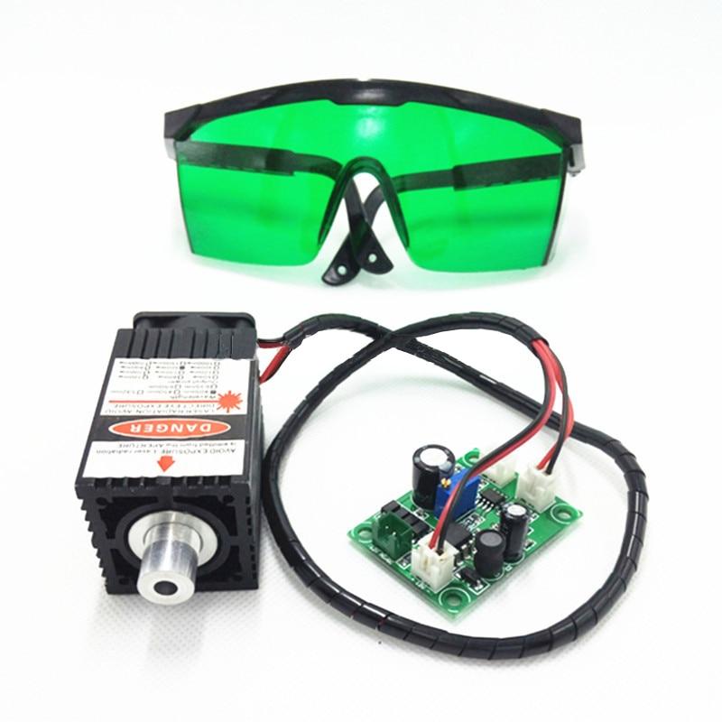 450nm 2500mW 12V adjustable blue light laser module engraving machine accessories 2.5W laser head + glasses цены онлайн