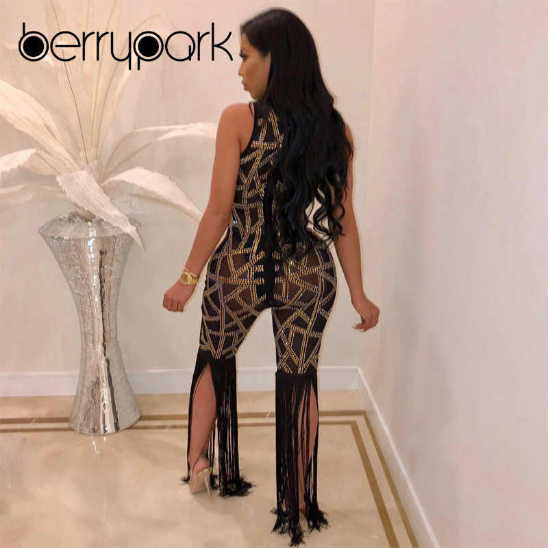 BerryPark блестящая сетка с бриллиантами прозрачный сексуальный комбинезон 2019 новые модные женские ромперы с кисточками и стразами Прямая доставка