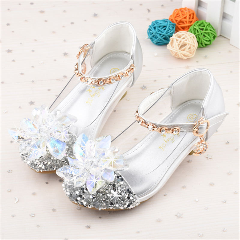 2019 Spring And Autumn New  Children's Crystal Shoes Cinderella Princess Shoes  Girls Shoes 26-37