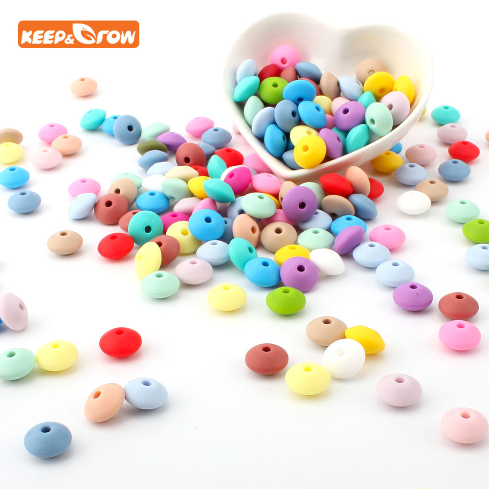 Keep&grow 100Pcs Silicone Beads 12mm Abacus Lentils Beads Baby Products Sensory DIY Chewable Baby Teething Necklace Toys Bead