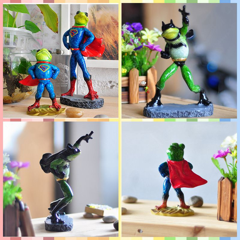 Free shipping Funny Frog Family Figures Resin toy Super Bat Heroes cake home office desk car decoration man party supply gifts