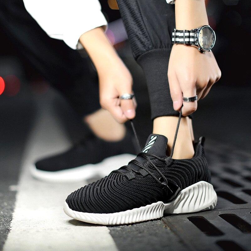 Sólidos 2019 Masculino Homens Tecelagem Ar Peso cinza Caminhada Sapatos Tênis Flats Livre Leve Respirável Preto Dos Casuais Ao branco Malha Para PSzPgrIq