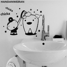 FREE SHIPPING!1PCS Cartoon Kawaii Tooth Creative Funny Wall Stickers Glass Sticker For Bedroom Bathroom Home Decoration