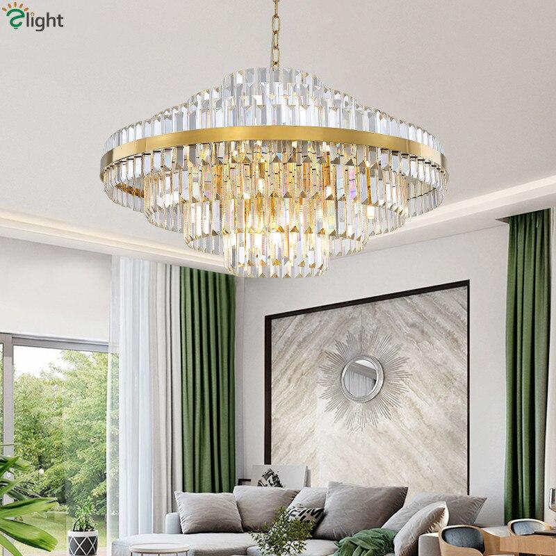 Modern Foyer Luxury G9 Led Pendant Lights Lustre K9 Crystal Led Luminarias Chain Hanging Lamparas Fixtures Living Room Led Lamp