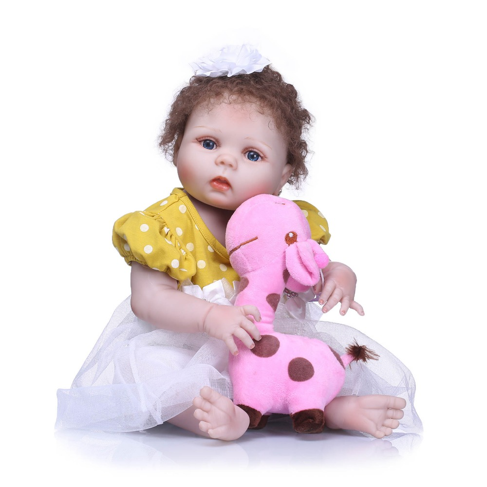 NPKCOLLECTION Lovely NewBorn Baby Girl Doll Toy 22'' Realistic Reborn Dolls Silicone Vinyl Full Body Alive bebe Boneca Reborns new design cute new born baby girl doll toy 23inch realistic reborn dolls silicone vinyl full body alive bebe boneca reborns