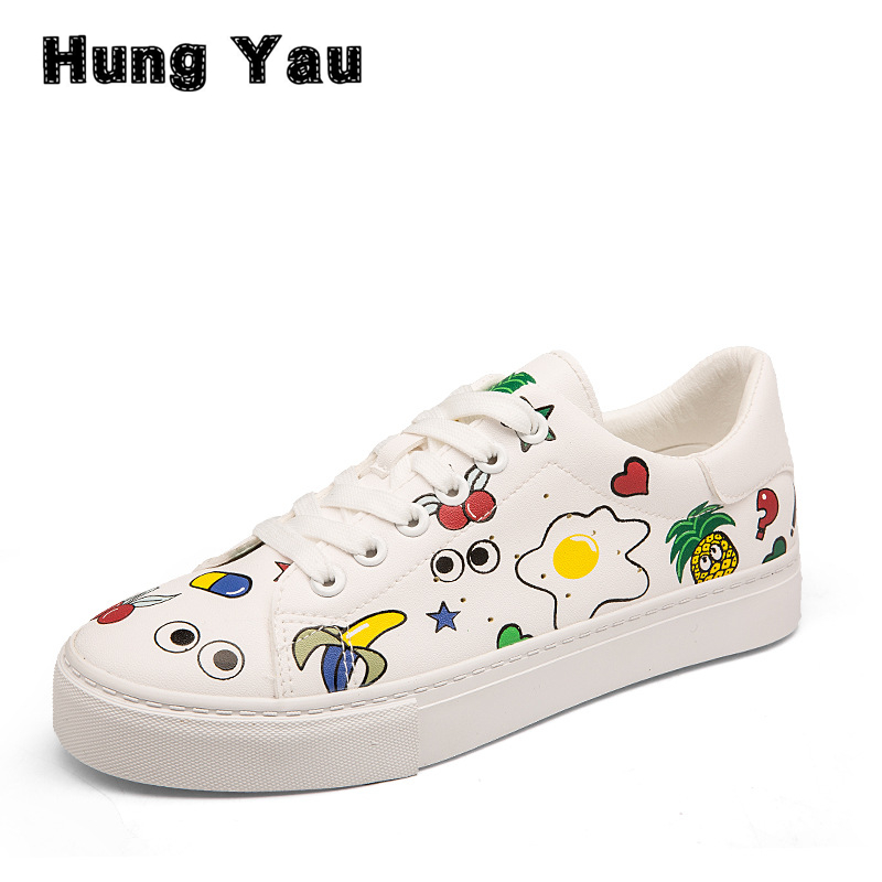 Hung Yau Student Strap Casual Shoes Graffiti White Shoes Female Summer Style Sneakers Canvas Shoes Zapatos Mujer Trainers Size 8 game of thrones casual shoes women house stark winter is coming printed summer style superstar graffiti canvas shoes big size