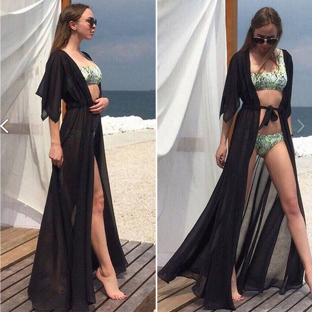 Beach Cover up Solid long Bikini Cover up Tunic for Beach Swimsuit cover up Sarong Saidas Beach wear(China)