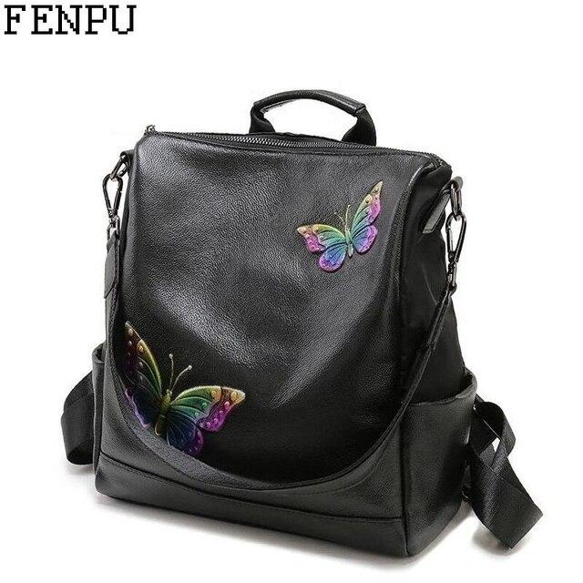 European Style Women Genuine Leather Backpack Name Brand Fashion Pattern School Bag Female Travel