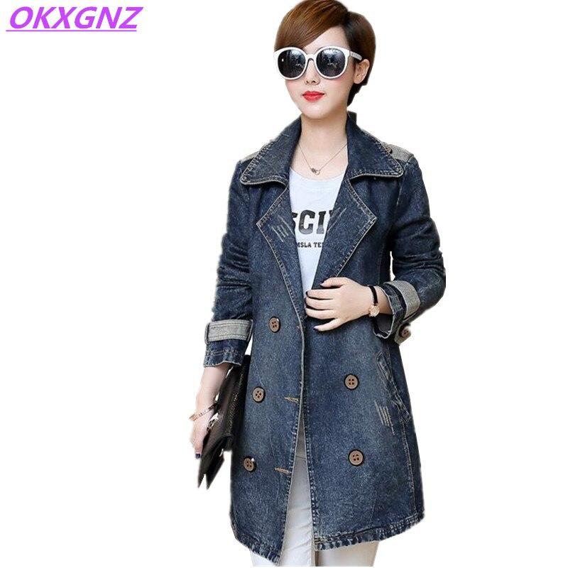 Okxgnz плюс Размеры 5xl Для женщин Ковбойское пальто Топы корректирующие 2017 Весна корейский костюм свободные досуг средней длины джинсовая вет... ...