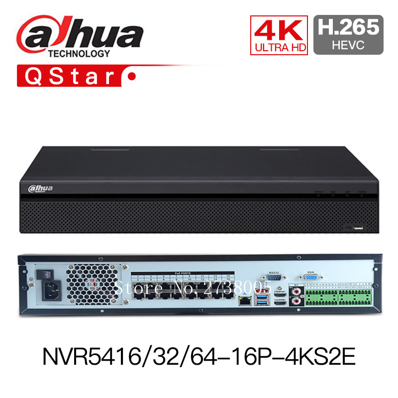 Dahua 4K NVR NVR5416-16P-4KS2E 16CH 16 poe NVR5432-16p-4KS2E 32ch 16 PoE NVR5464-16P-4KS2E 1-8 PoE Ports Support 800m ePoE & EoC dahua 32ch nvr 16 poe 2u case 8 sata 1080p 200mbps gigabit rj45 android ios
