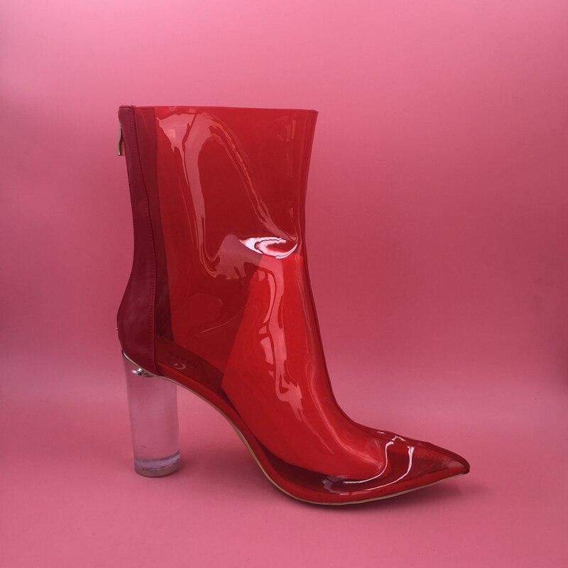 e4e553d8cca Red PVC Jelly Boots Womem Plastic Pointed Toe Fall Boots Custom