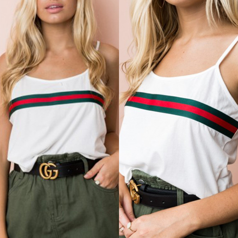 Patchwork Striped Cami Top Spaghetti Strap Casual Tops Women Sexy Striped Sleeveless 2018 Summer White Backless Red Green Tees