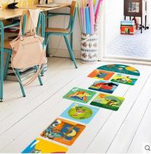 Cartoon kindergarten children room to stick the thick wall animal Numbers game hopscotch floor stickers