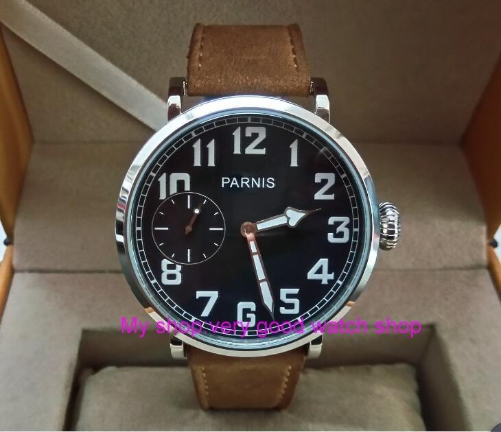 46mm parnis Black dial Asian 6497 17 jewels Mechanical Hand Wind movement men watch luminous Mechanical watches zdgd247A цена и фото