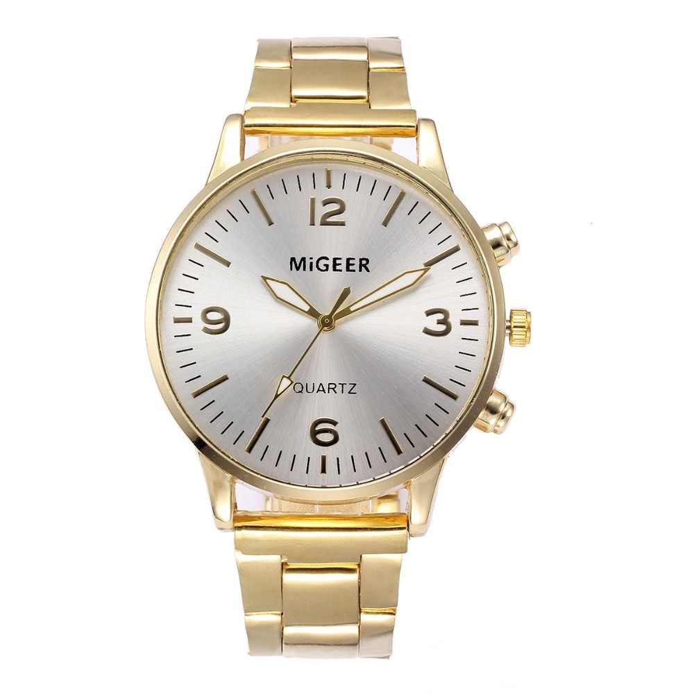 אופנה יוקרה איש נירוסטה אנלוגי קוורץ זהב גברים של יד שעונים באיכות גבוהה זכר שעון מתנת relogio masculino Q5