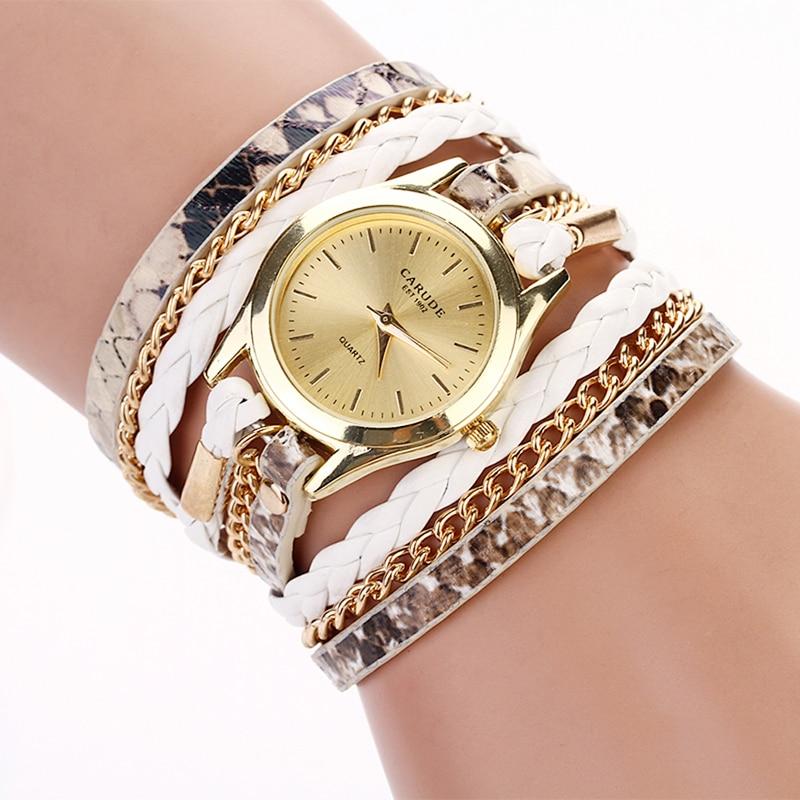 2017 Brand Women Gold Bracelet Watches Woven Leopard Watch Quartz Ladies Watch horloges vrouwen montre femme dames horloges wrap bracelet gold dial digital red leather strap ladies luxury quartz watch horloges vrouwen women watches wristwatch megir 382