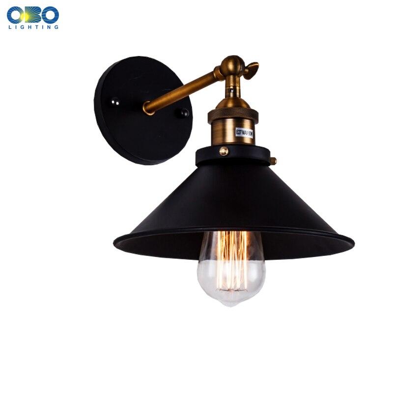 Vintage Željezo Crno Slikano Zidna lampa Spavaća soba Foyer Skladište Vanjski / Unutarnja rasvjeta E27 Lampa Držač 110-240V Besplatna dostava