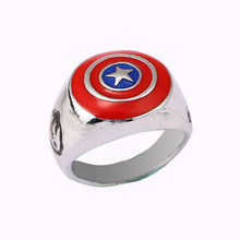 Stainless Steel School Graduation Comics Super Heroes Captain America Symbol Shield Signet Ring Boy Son Children Birthday Gifts