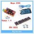 1 шт. мега 2560 R3 + 1 шт. платформы 1.4 панель управления + 5 шт. DRV8825 шагового двигателя привода перевозчик Reprap для 3d-принтер комплект