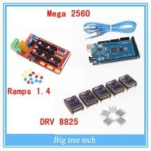 3D imprimante 1 pc Mega 2560 R3 + 1 pc RAMPS 1.4 panneau de commande + 5 pcs DRV8825 Stepper Motor support de disque Reprap pour imprimante 3D kit