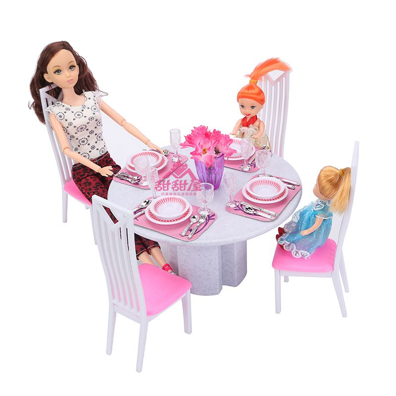 Miniature Furniture High Simulation of White Porcelain Dining Table for Barbie Doll House DIY Toys for Girl Free Shipping christmas gift present play toy doll house dining room furniture for 1 6 bjd simba lica monster high for barbie dolls house