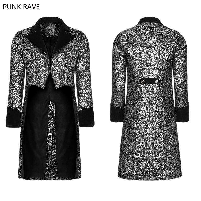 Erkek Kıyafeti'ten Ceketler'de 2018 Punk Rave Gotik Steampunk Victoria Muhteşem Moda Parti Swallow Kuyruk Çiçek Saray erkek Ceket Ceket WY922'da  Grup 1