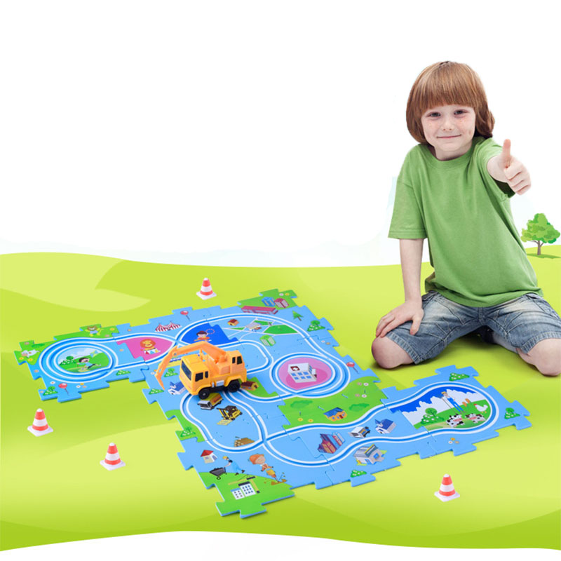 DIY Assembled Toy Building Blocks Electronic Rail car Track Car Toy Educational Toys Parent-child Interaction