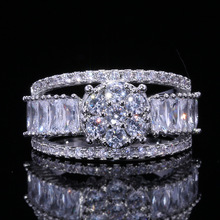 ZTLXY Engagement Rings Women Fashion Finger Accessories inlaid rhinestone Wedding Band Ring fashion jewelry