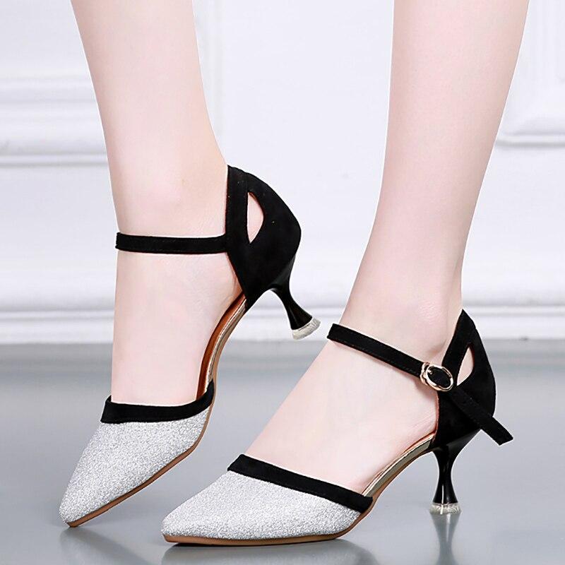 BD619 talon 6 cm argent extérieur intérieur creux modèle montrer chaussures BD danse latine chaussures de danse de salon chaussures femmes