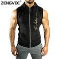 Nueva llegada mens clothing sportwear sin mangas de color sólido de los hombres con capucha para los hombres jóvenes